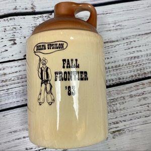 VINTAGE Delta Upsilon '83 Stoneware Whiskey Jug